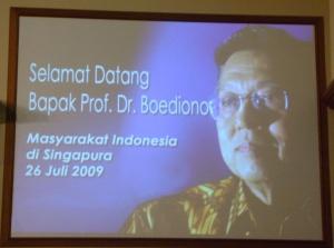 Selamat Datang Prof. Dr. Boediono
