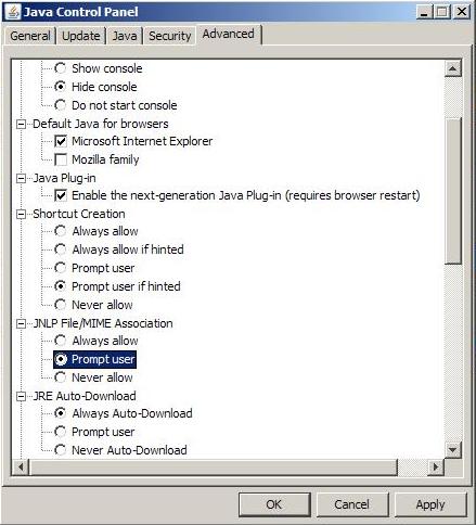 JNLP File/MIME Association