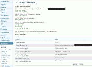 WP-DB Manager backup screen