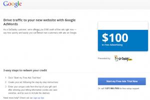 Google AdWords GoDaddy landing page