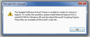 The Seagate Software ActiveX Viewer is unable to create its resource objects